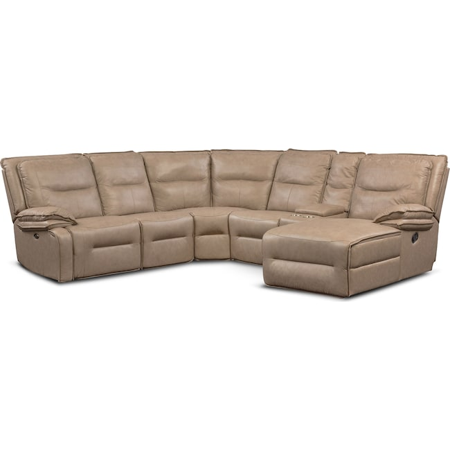 Living Room Furniture - Nikki 6-Piece Power Reclining Sectional with 2 Recliners and Right-Facing Chaise - Taupe