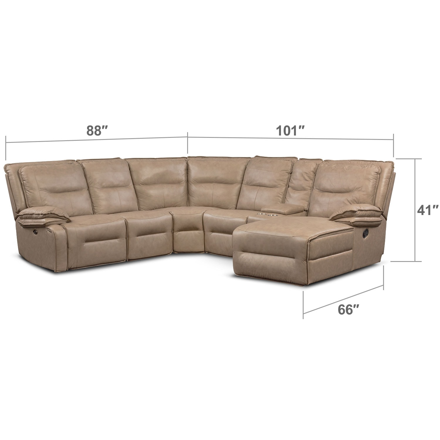 Living Room Furniture - Nikki 6-Piece Power Reclining Sectional with 1 Recliner and Right-Facing Chaise - Taupe