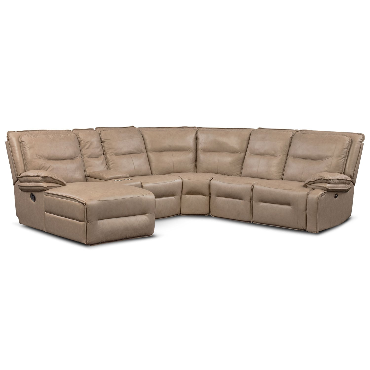 Living Room Furniture - Nikki 6-Piece Power Reclining Sectional with 2 Recliners and Left-Facing Chaise - Taupe
