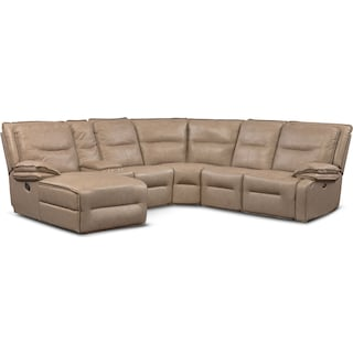Nikki 6-Piece Power Reclining Sectional with 1 Recliner and Left-Facing Chaise - Taupe