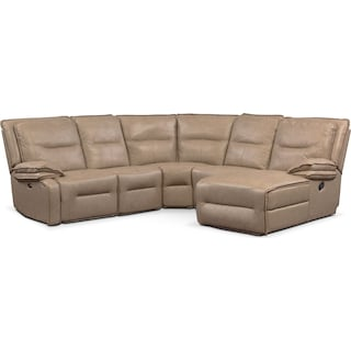 Nikki 5-Piece Power Reclining Sectional with 2 Recliners and Right-Facing Chaise - Taupe