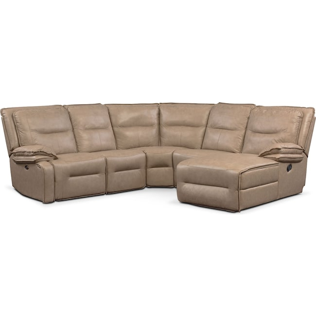 Living Room Furniture - Nikki 5-Piece Power Reclining Sectional with 2 Recliners and Right-Facing Chaise - Taupe