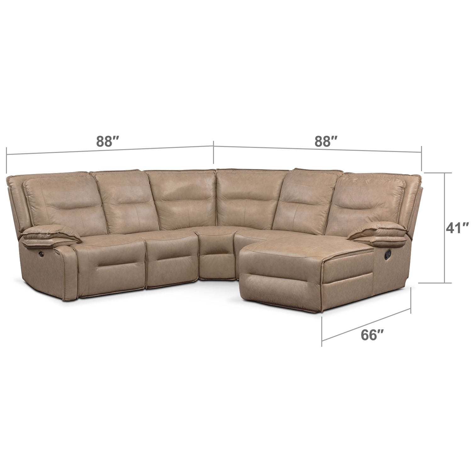Living Room Furniture - Nikki 5-Piece Power Reclining Sectional with 1 Recliner and Right-Facing Chaise - Taupe