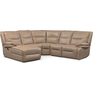 Nikki 5-Piece Power Reclining Sectional with 1 Recliner and Left-Facing Chaise - Taupe