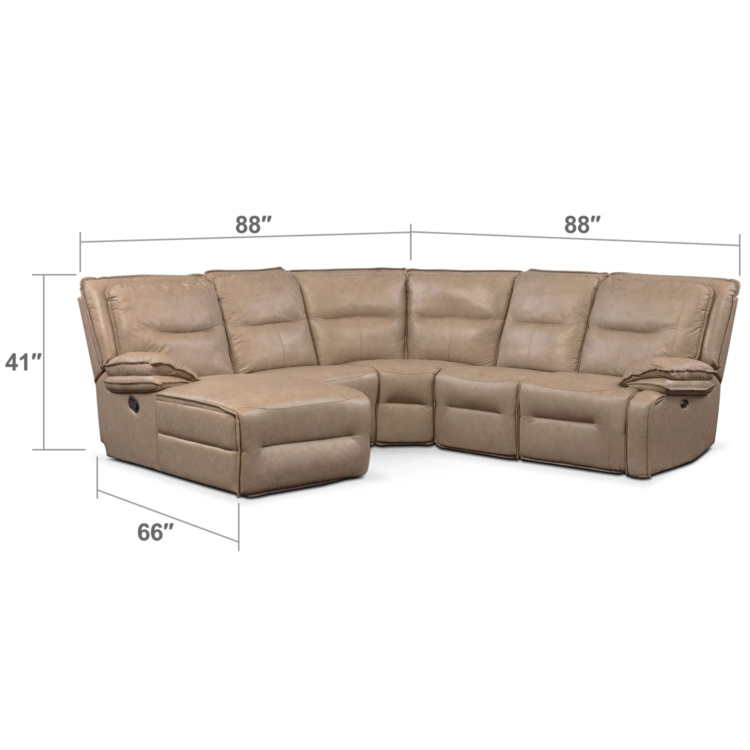Living Room Furniture - Nikki 5-Piece Power Reclining Sectional with 2 Recliners and Left-Facing Chaise - Taupe