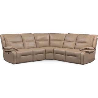 Nikki 5-Piece Power Reclining Sectional with 3 Recliners - Taupe