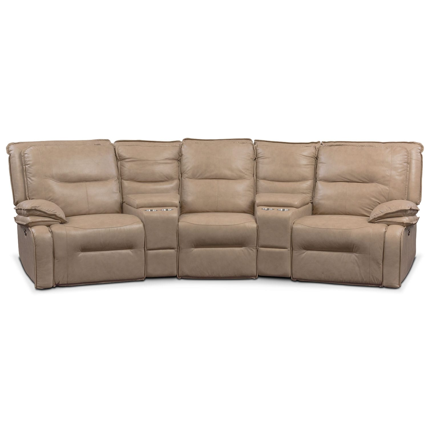 Living Room Furniture - Nikki 5-Piece Power Reclining Home Theater Sectional - Taupe
