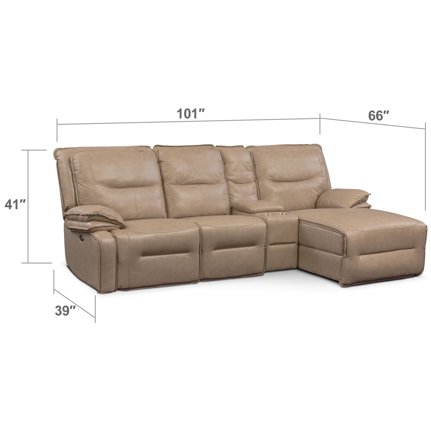 Living Room Furniture - Nikki 4-Piece Power Reclining Sectional with Right-Facing Chaise - Taupe