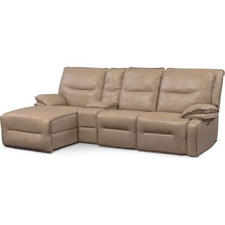 Nikki 4-Piece Power Reclining Sectional with Left-Facing Chaise - Taupe