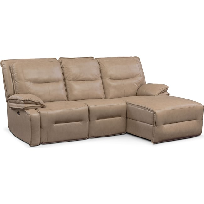 Living Room Furniture - Nikki 3-Piece Power Reclining Sectional with Right-Facing Chaise - Taupe