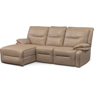 Nikki 3-Piece Power Reclining Sectional with Left-Facing Chaise - Taupe