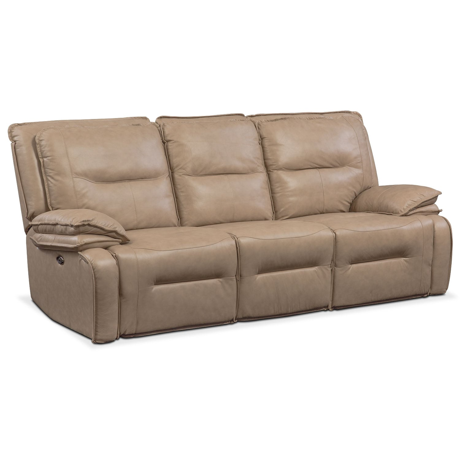Living Room Furniture - Nikki 3-Piece Power Reclining Sectional with 3 Recliners - Taupe