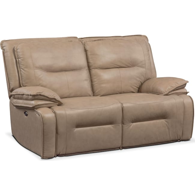 Living Room Furniture - Nikki 2-Piece Power Reclining Sectional - Taupe