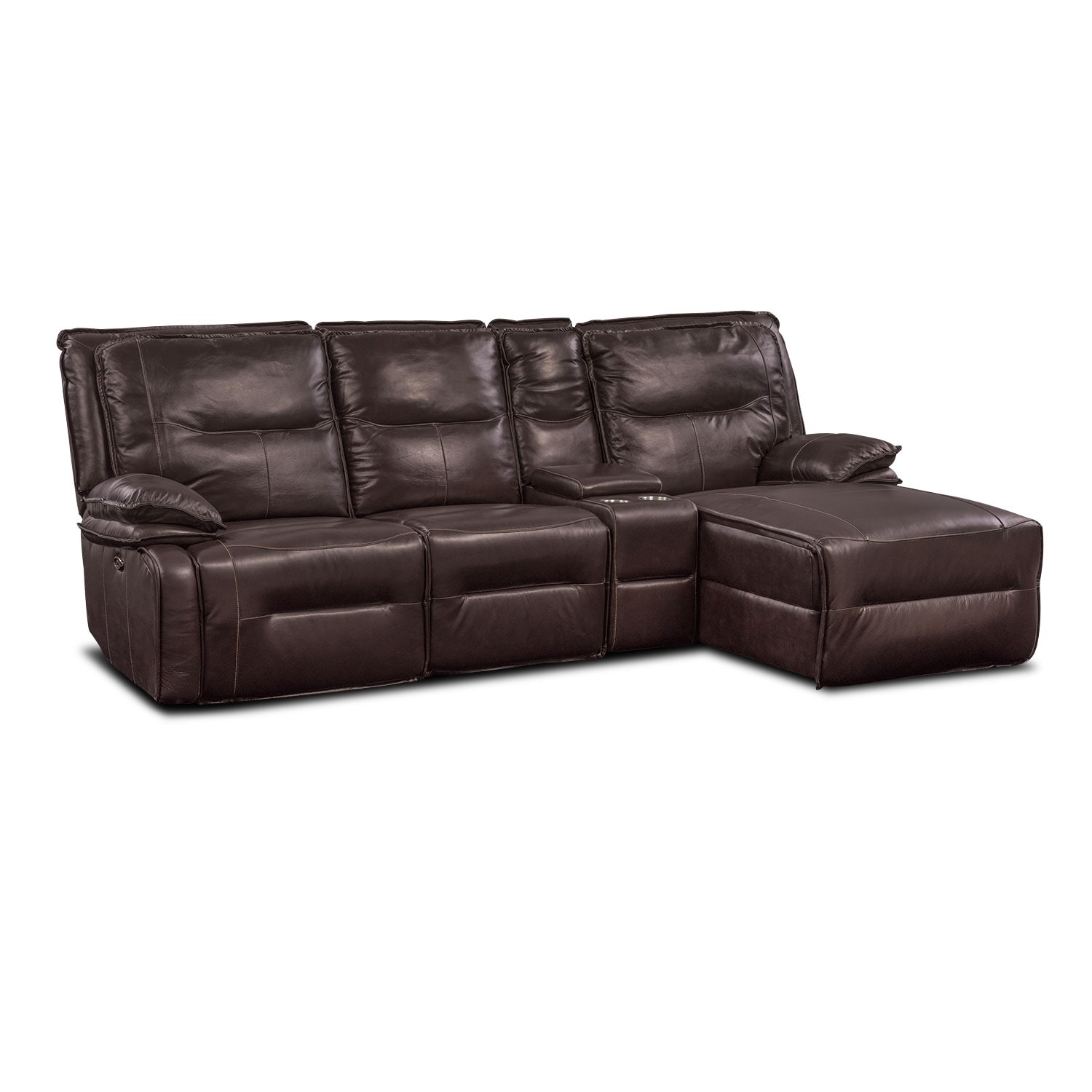 Living Room Furniture - Nikki 4-Piece Power Reclining Sectional with Right-Facing Chaise - Brown