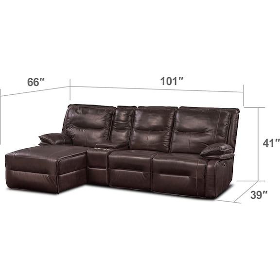 Living Room Furniture - Nikki 4-Piece Power Reclining Sectional with Left-Facing Chaise - Brown