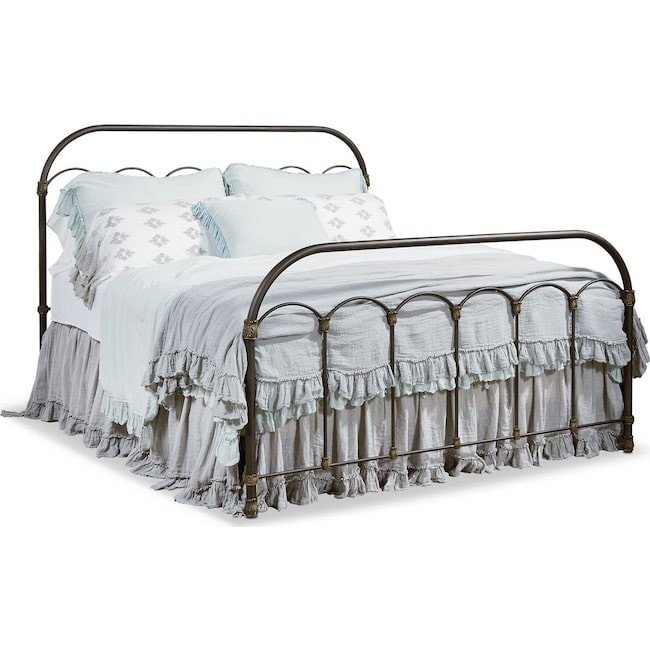 Bedroom Furniture - Colonnade Metal King Bed - Blackened Bronze