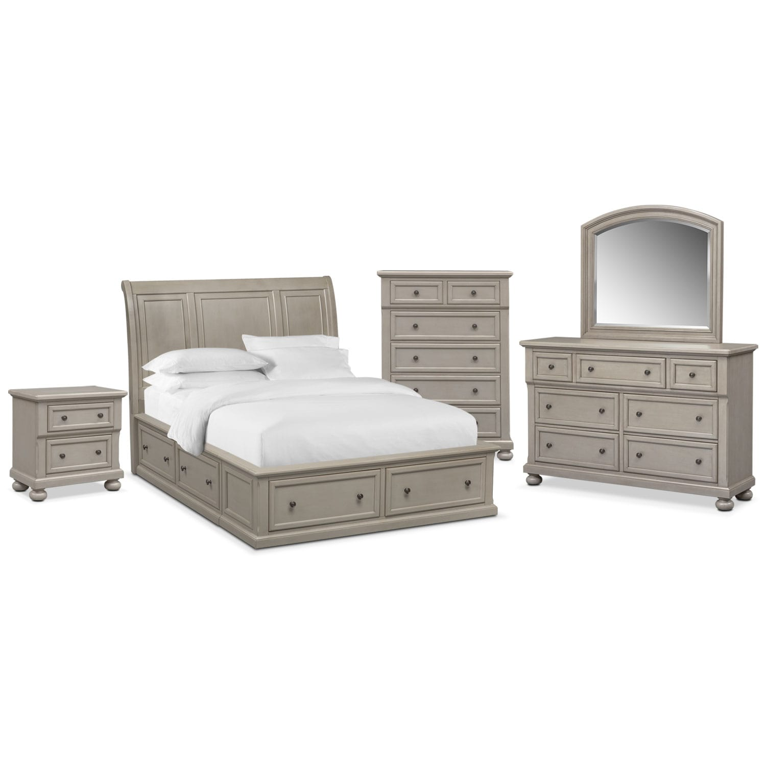 Bedroom Furniture   Hanover Queen 7 Piece Storage Bedroom Set   Gray