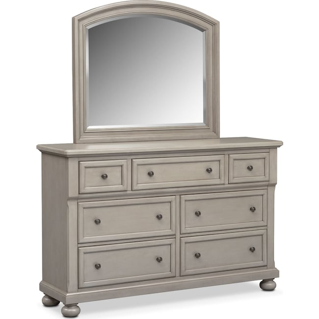 Bedroom Furniture - Hanover Dresser and Mirror - Gray