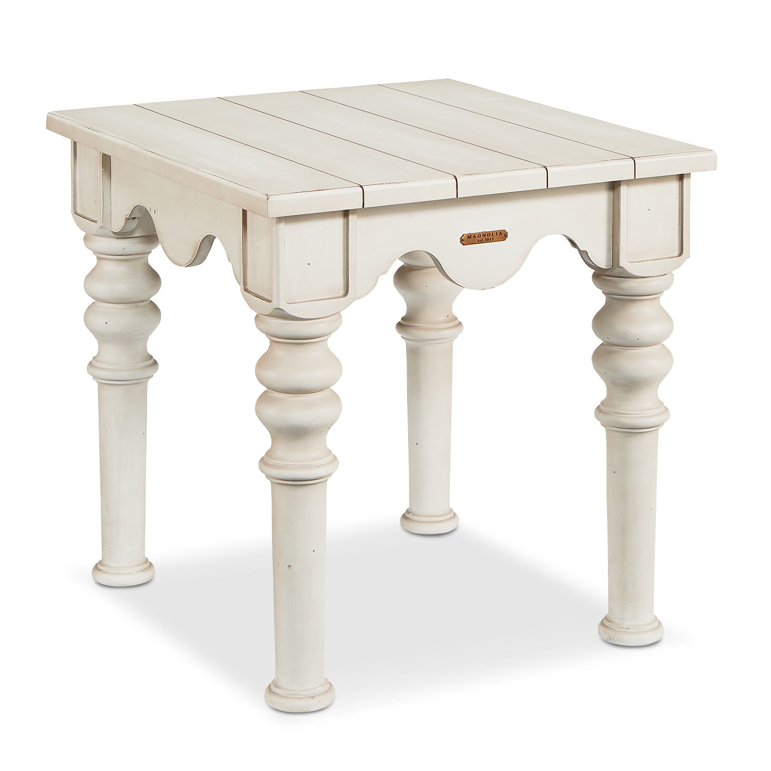 Accent and Occasional Furniture - Scallop Side Table - Antique White