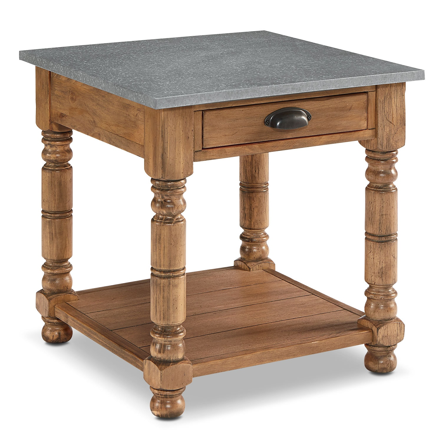 Accent and Occasional Furniture - Bobbin Side Table with Zinc Top - Bench
