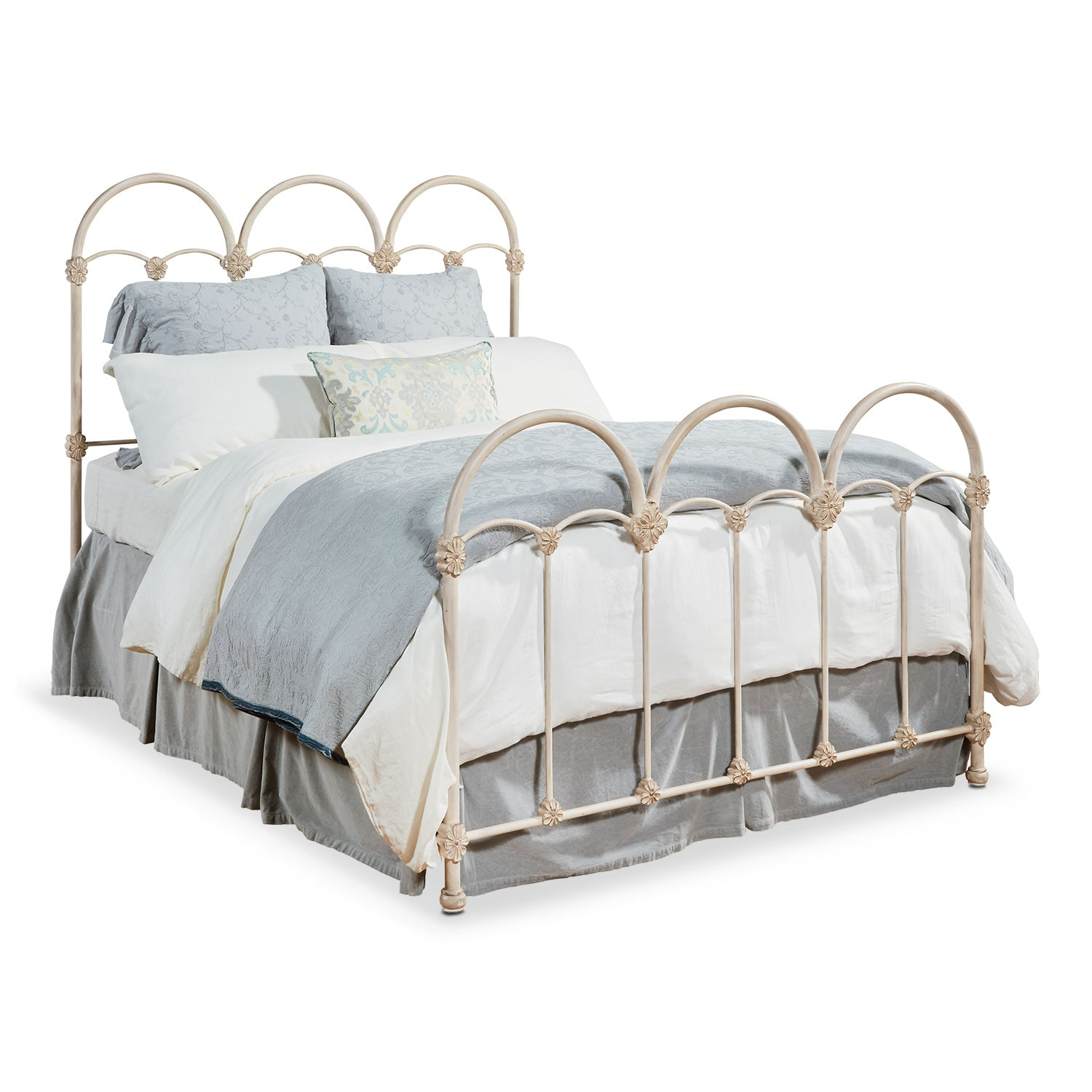 Rosette Queen Iron Bed - Antique White