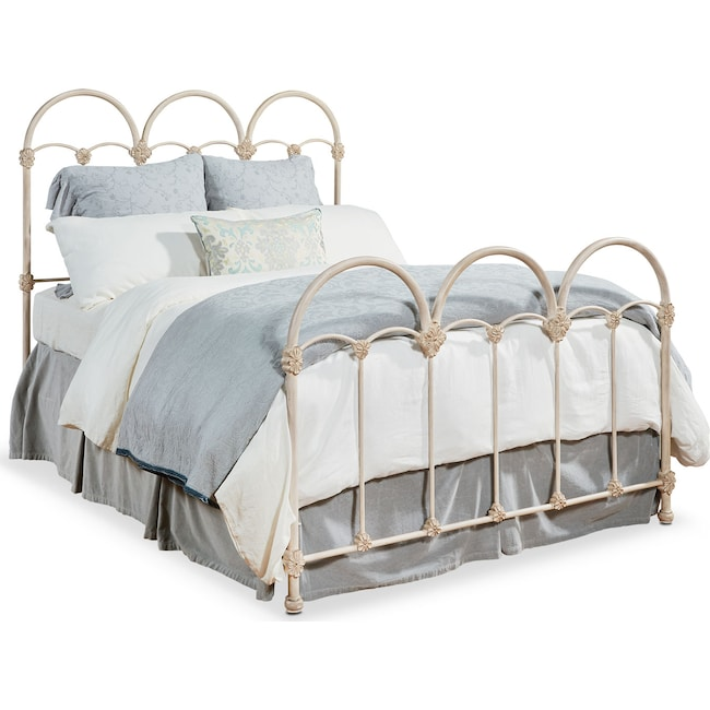 Bedroom Furniture - Rosette King Iron Bed - Antique White