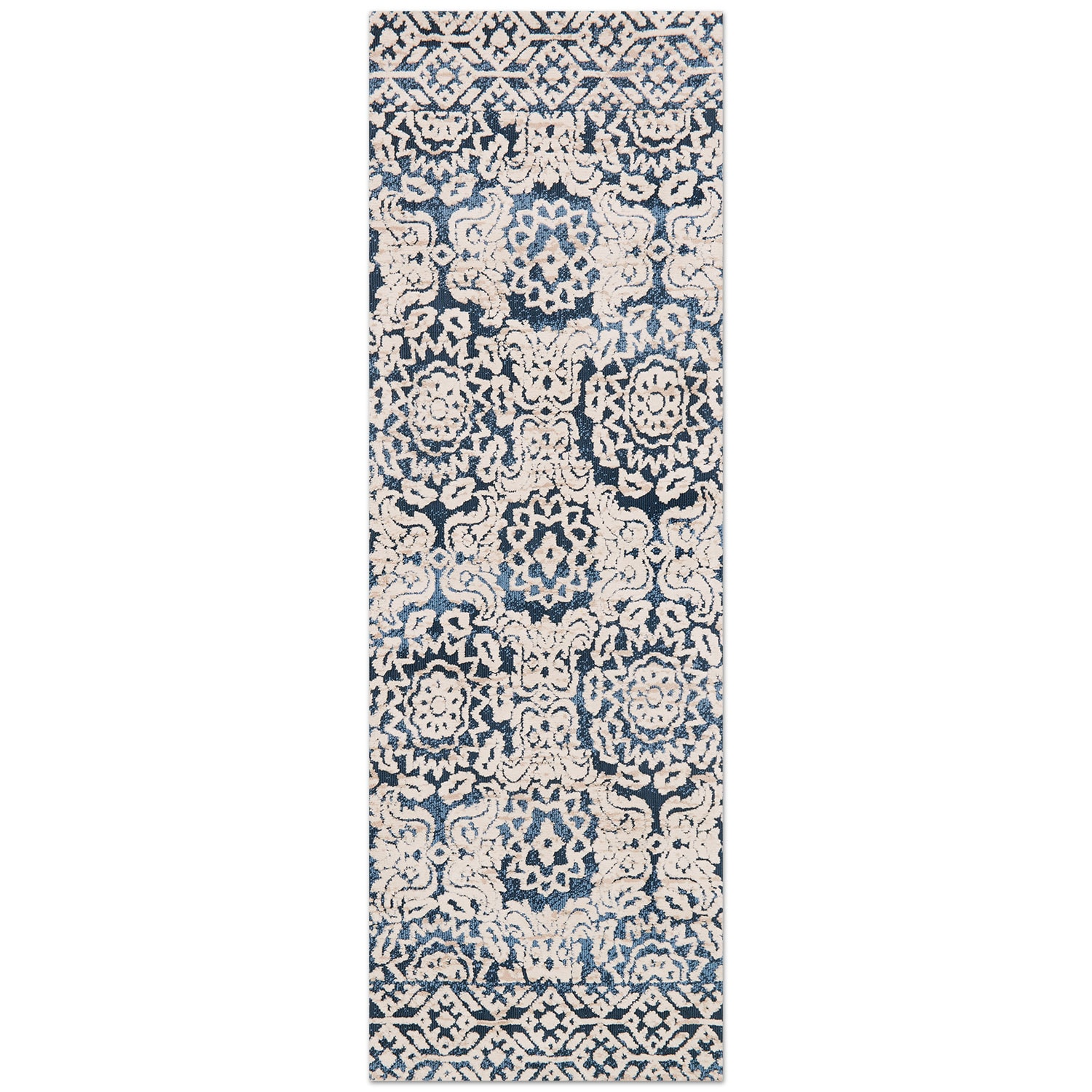Rugs - Lotus 3' x 8' Rug - Blue and Antique Ivory