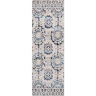 Lotus 3' x 8' Rug - Blue and Antique Ivory