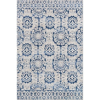 Lotus 9' x 13' Rug - Blue & Antique Ivory