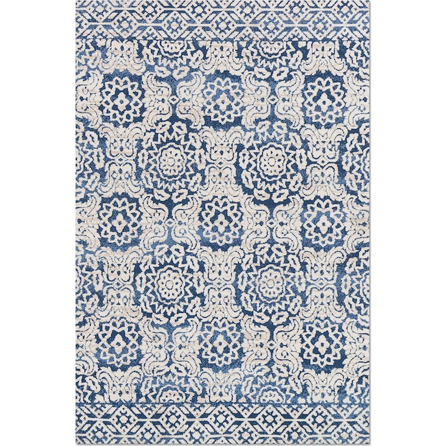 Rugs - Lotus 9' x 13' Rug - Blue & Antique Ivory
