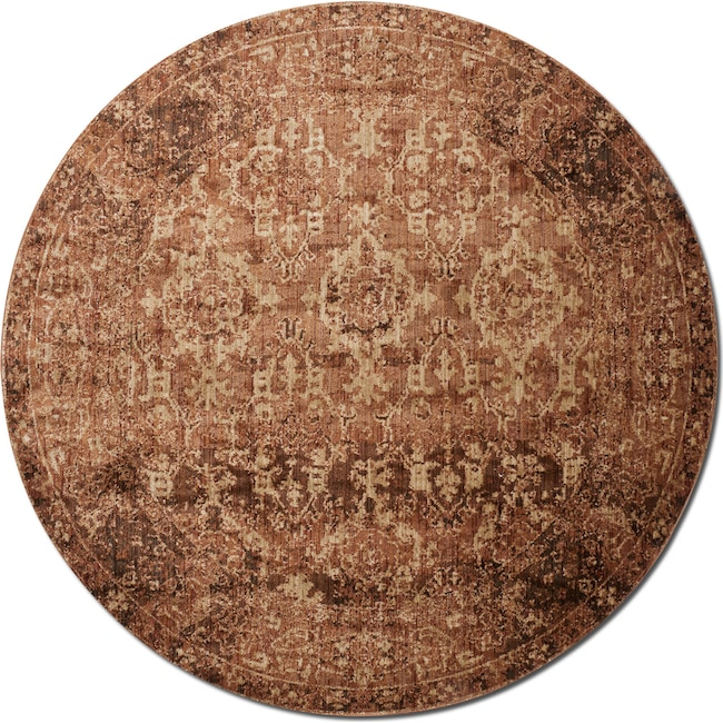 Rugs - Kivi 7' Round Rug - Sand and Copper