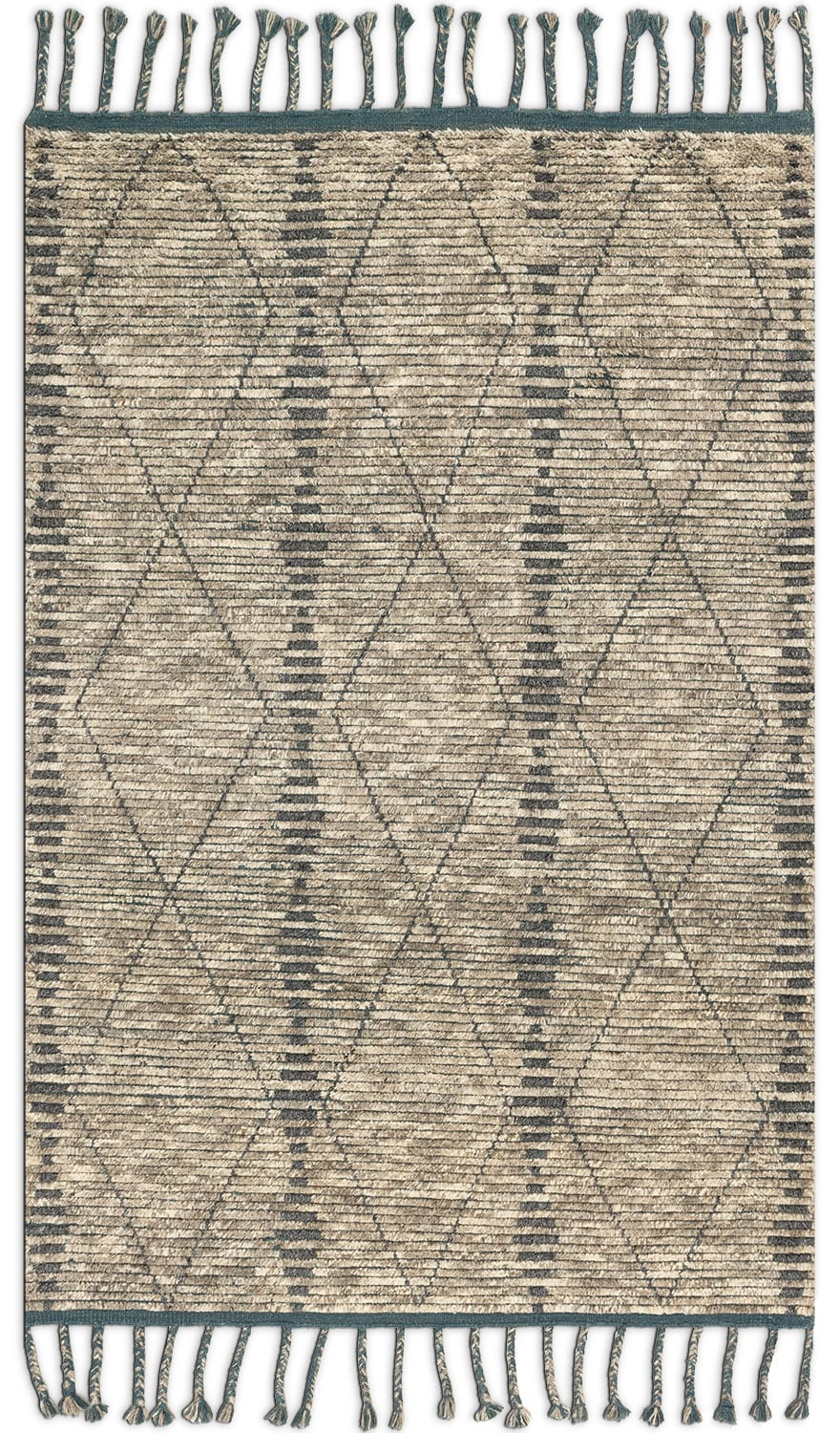 Rugs - Tulum 10' x 14' Rug - Stone and Blue