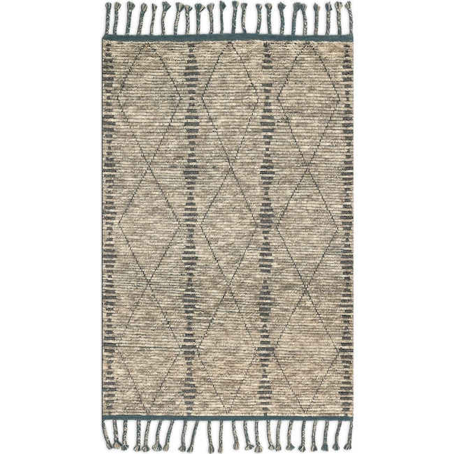 Rugs - Tulum 6' x 9' Rug - Stone and Blue
