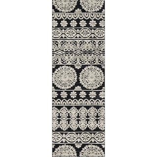 Lotus 3' x 8' Rug - Black and Silver