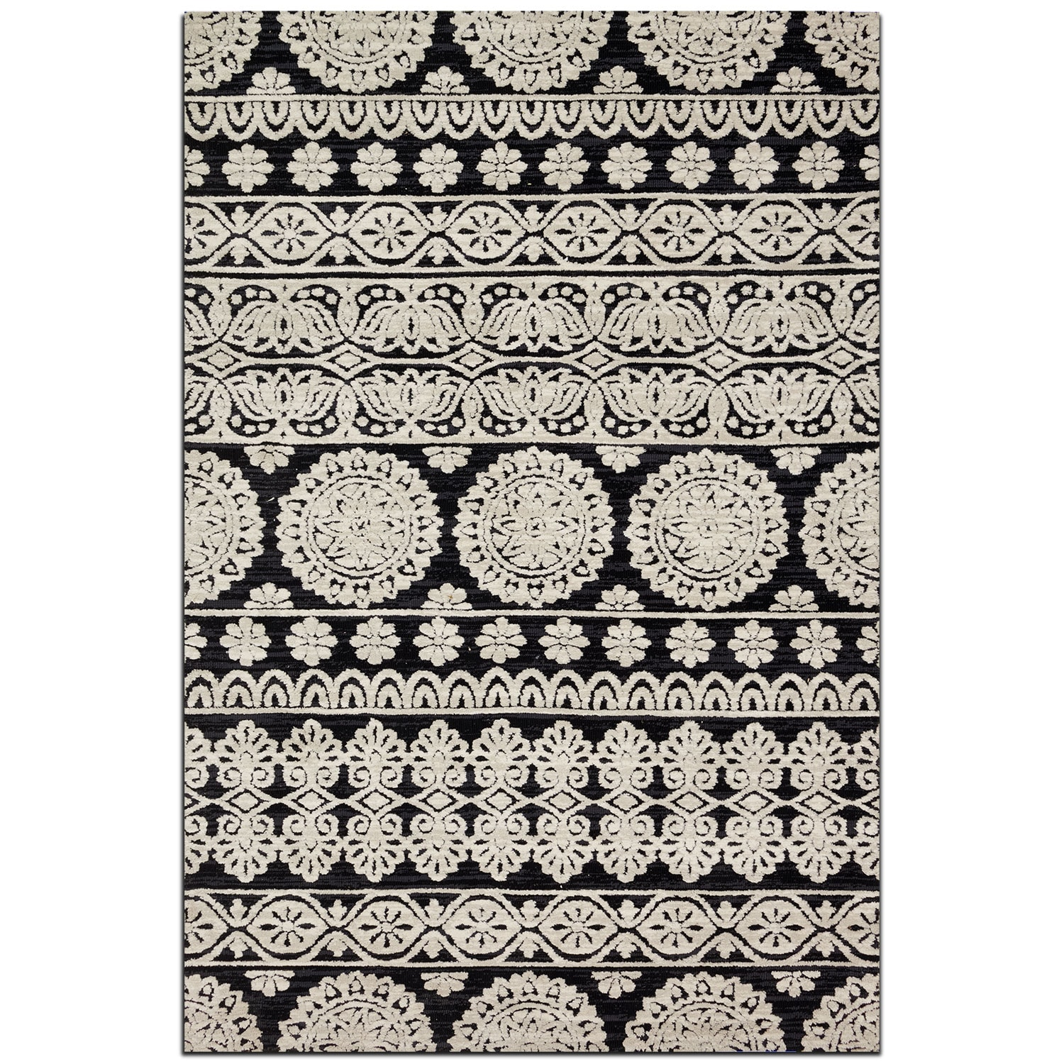 Rugs - Lotus 5' x 8' Rug - Black and Silver