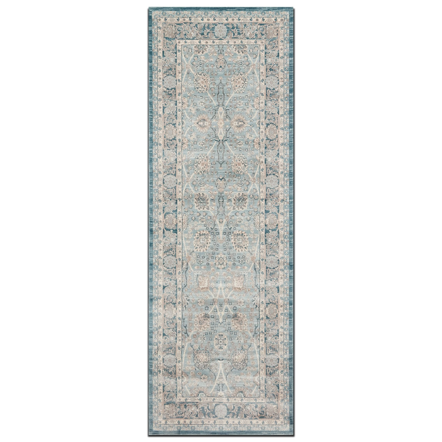 Ella Rose 3' x 11' Rug - Light and Dark Blue