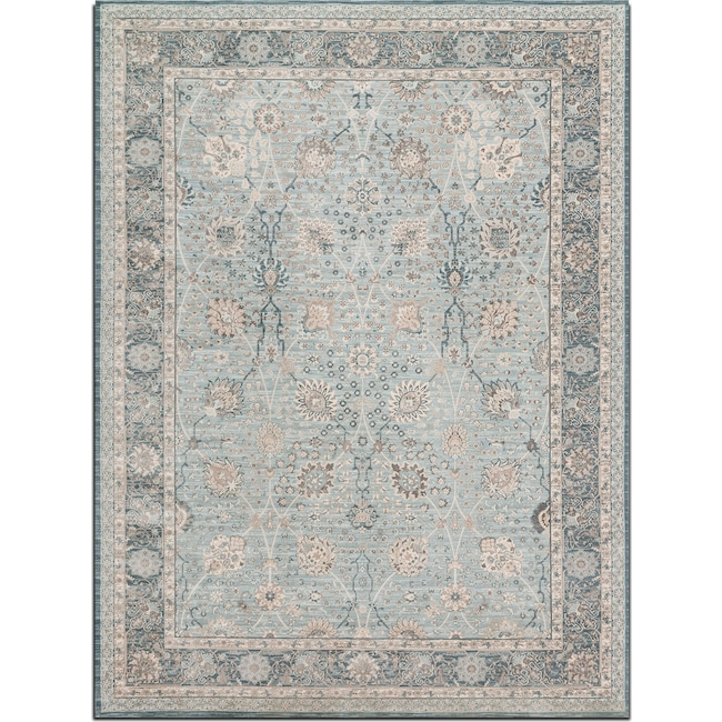 Rugs - Ella Rose 5' x 8' Rug - Light and Dark Blue