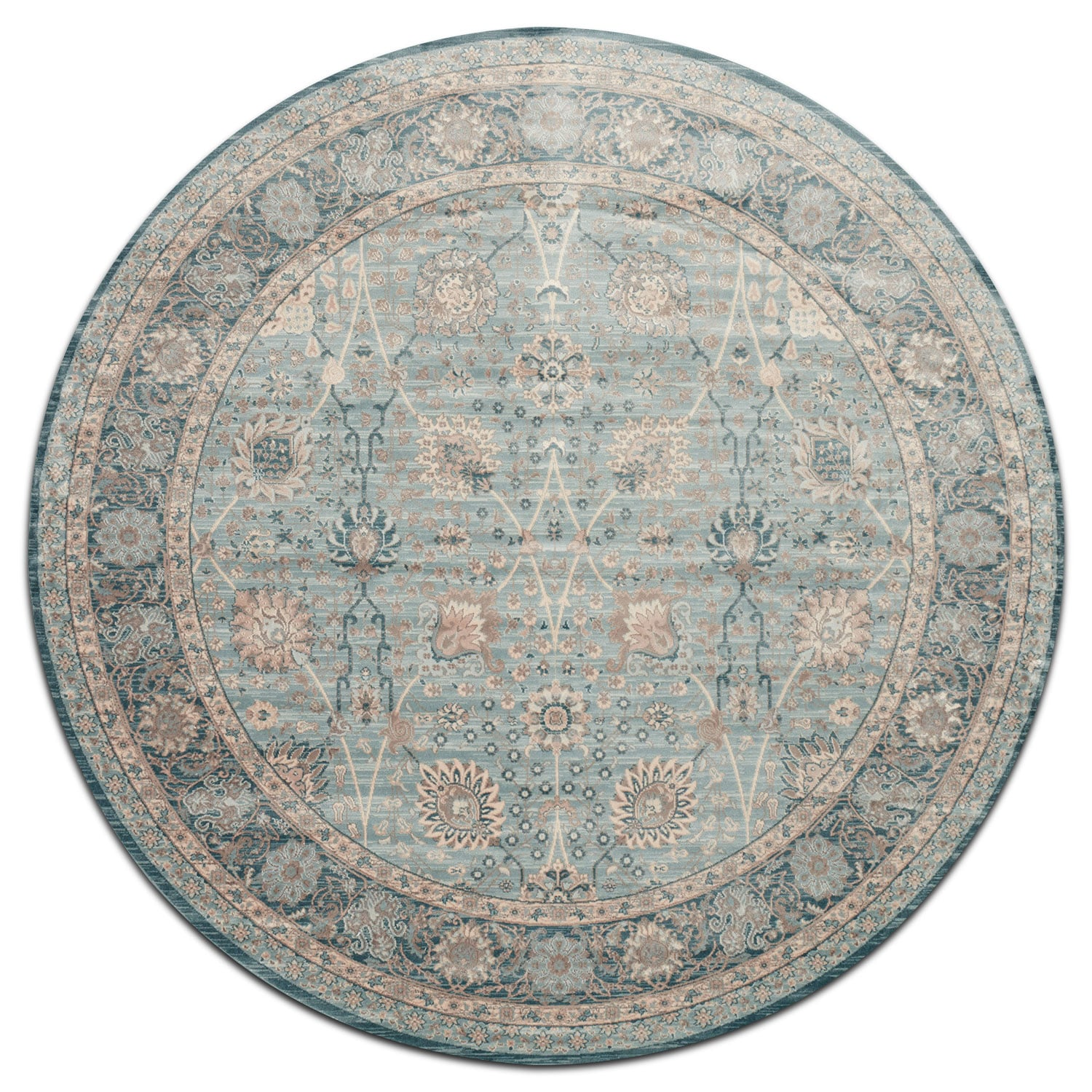 Ella Rose 7' Round Rug - Light and Dark Blue