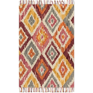 Brushstroke 4' x 6' Rug - Silver and Sunset