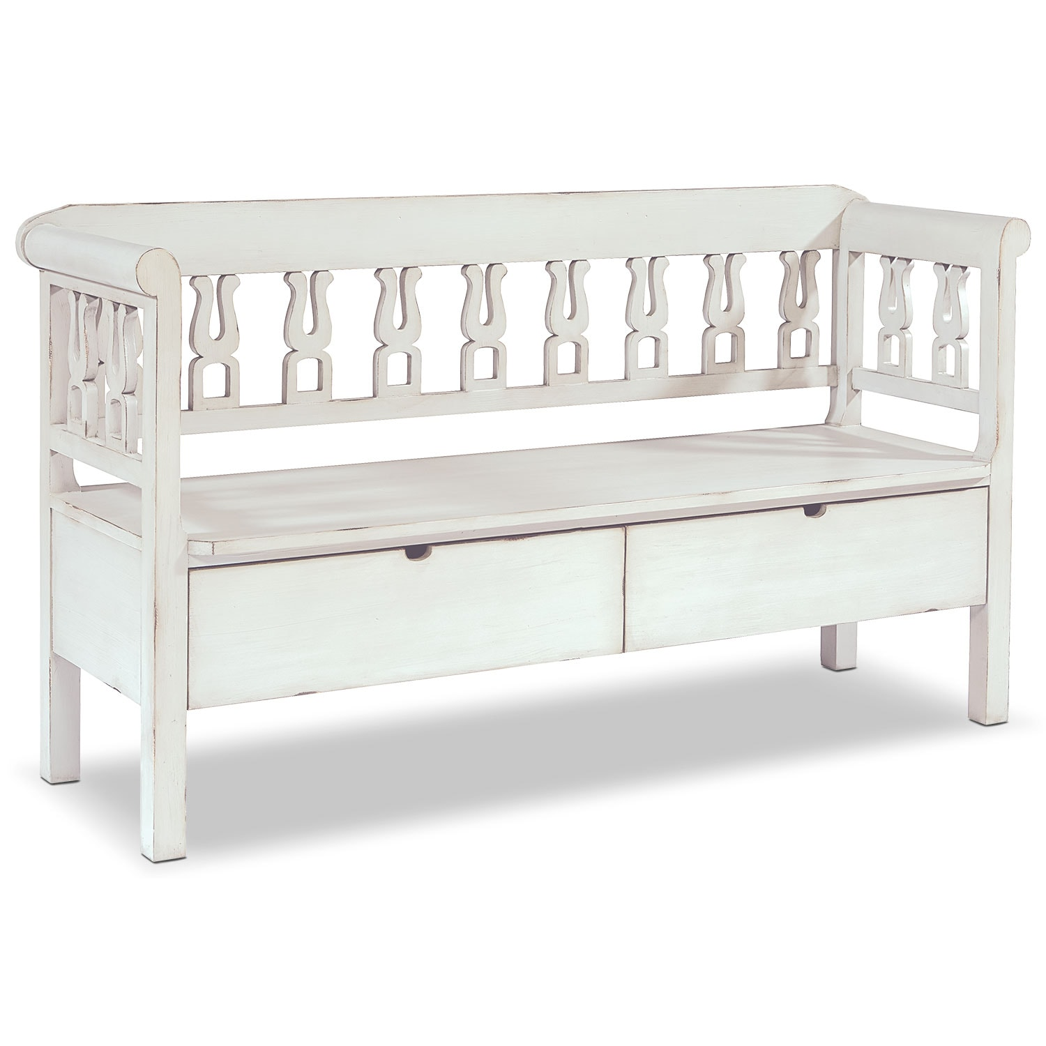 Accent and Occasional Furniture - Hall Bench with Storage - White
