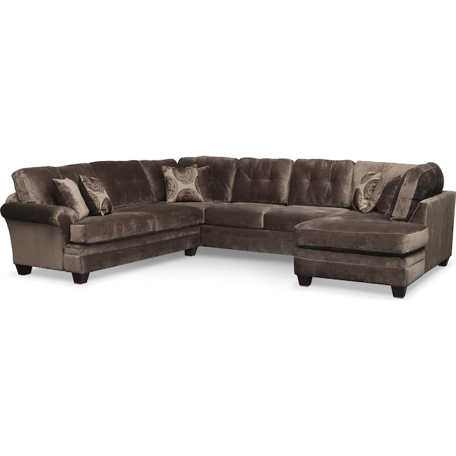 Living Room Furniture - Cordelle 3-Piece Sectional with Right-Facing Chaise - Chocolate