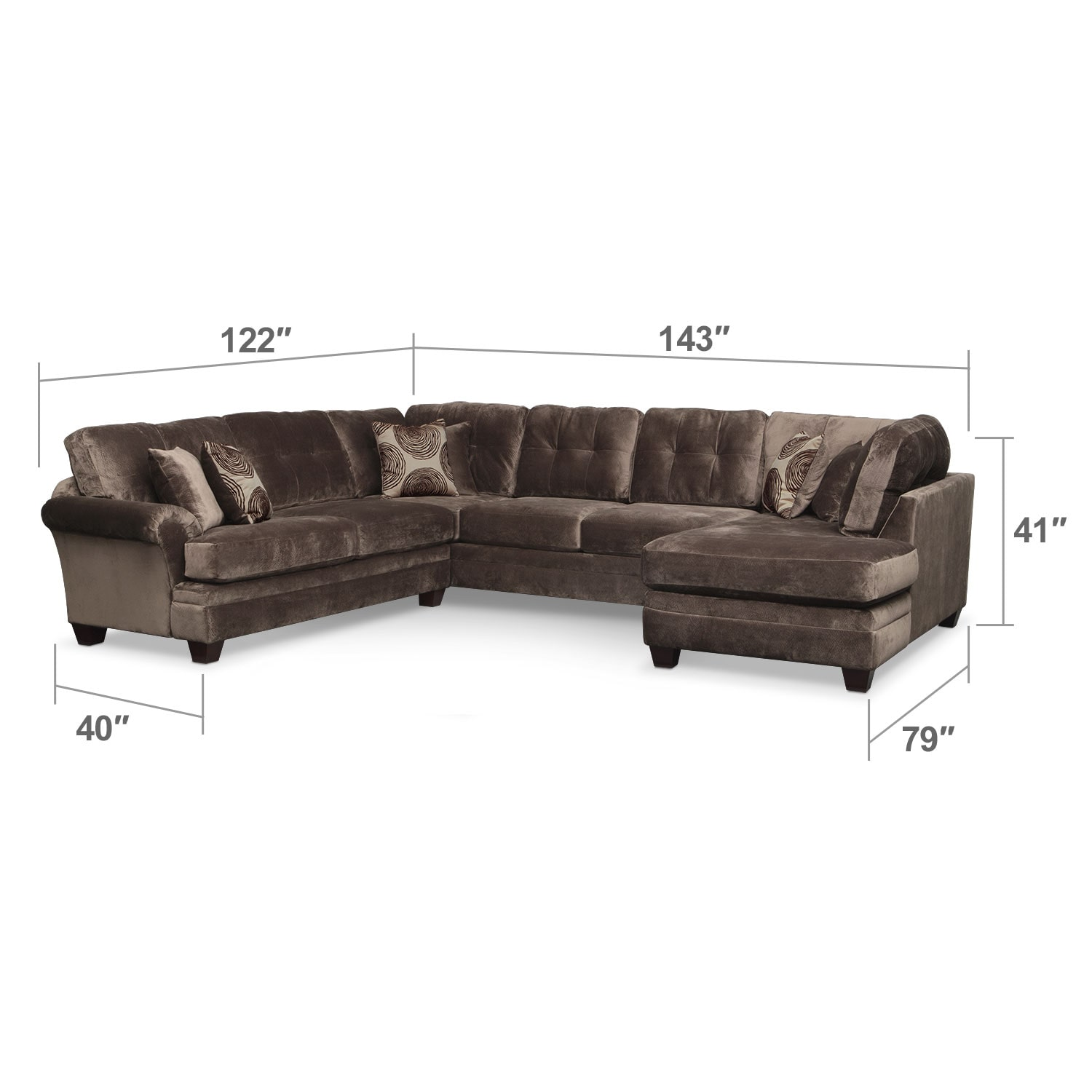 Living Room Furniture - Cordelle 3-Piece Sectional - Chocolate
