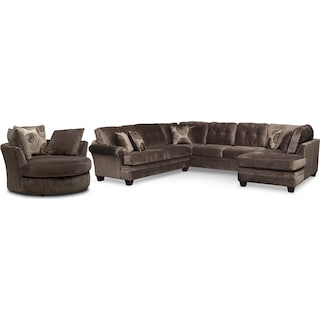Cordelle 3-Piece Sectional with Right-Facing Chaise and Swivel Chair Set - Chocolate