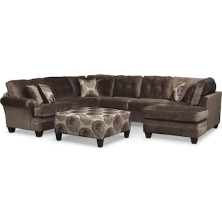 Cordelle 3-Piece Sectional with Right-Facing Chaise and Ottoman- Chocolate