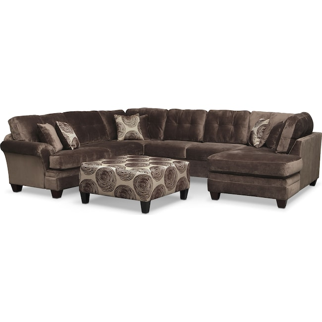 Living Room Furniture - Cordelle 3-Piece Sectional with Right-Facing Chaise and Cocktail Ottoman Set