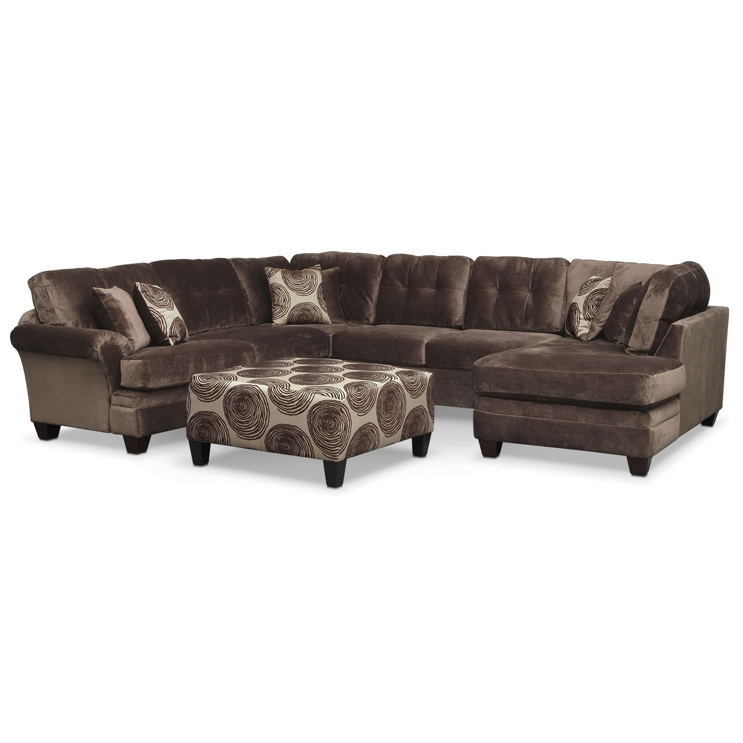 Cordelle 3 Piece Sectional And Cocktail Ottoman Set   Chocolate Part 81