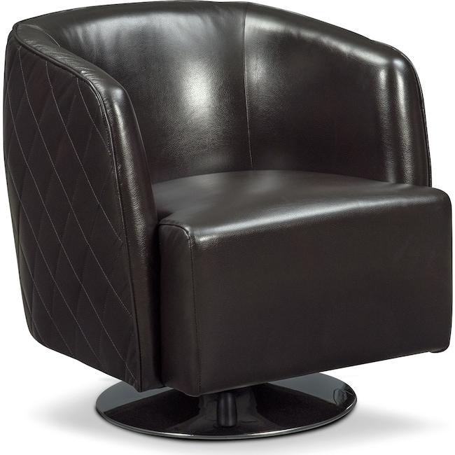 Living Room Furniture - Santana Swivel Chair - Black