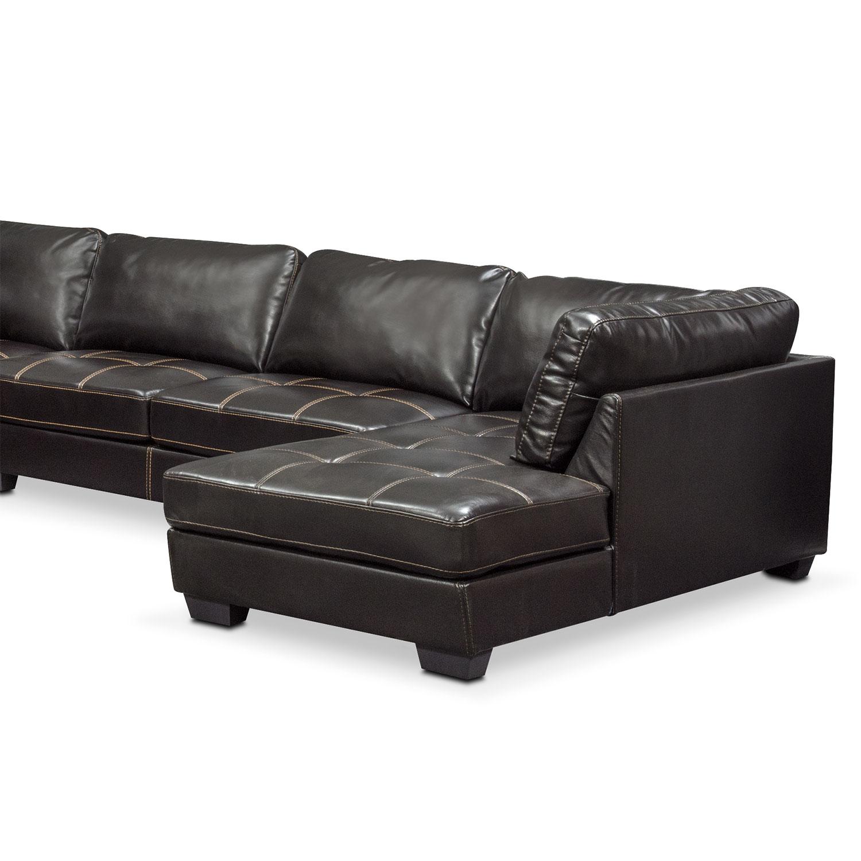 Santana 4 piece sectional with right facing chaise black for 4 piece sectional sofa with chaise