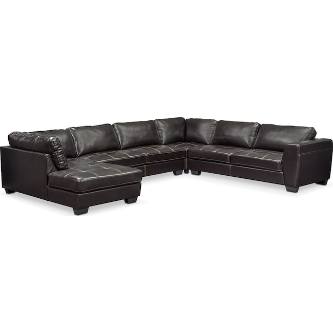Living Room Furniture - Santana 4-Piece Sectional with Left-Facing Chaise - Black