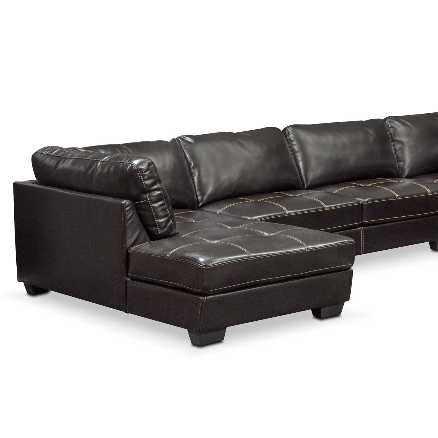 Santana 4 piece sectional with left facing chaise black for 4 piece sectional sofa with chaise